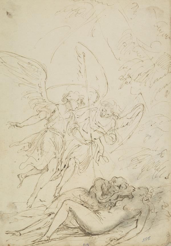Nude Figures and Two Angels