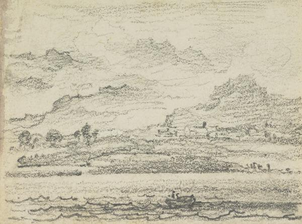 A View Across Loch Lomond with a Rowing Boat in the Foreground [Verso: Study of Trees before Omnious Looking Clouds]