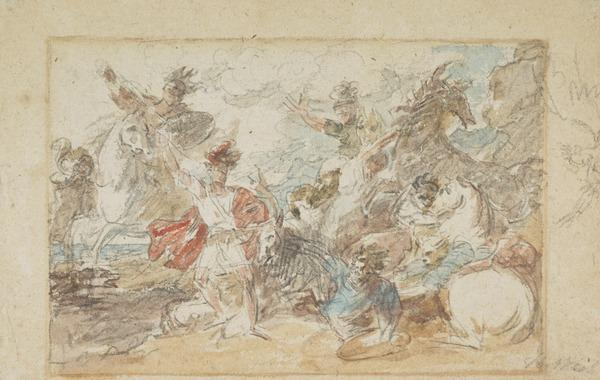 Watercolour study for 'Alexander III, King of Scotland, Rescued from the Fury of a Stag by Colin Fitzgerald' (Exhibited 1786)