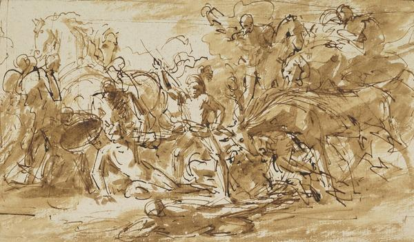 Study for 'Alexander III, King of Scotland, Rescued from the Fury of a Stag by Colin Fitzgerald' (About 1784)