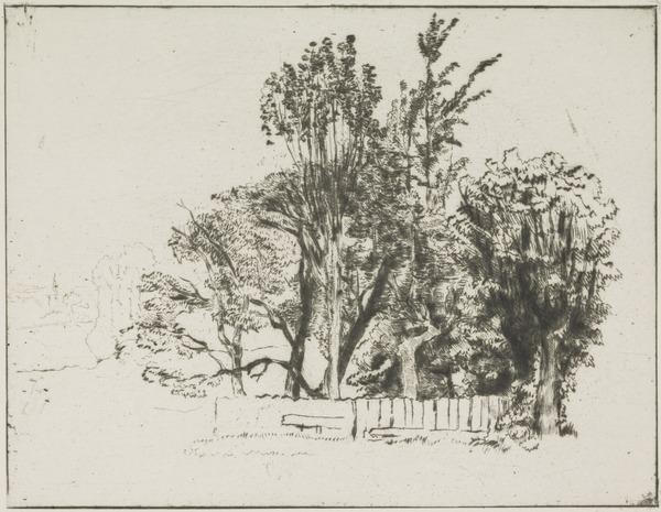 Halliford on Thames: A Group of Trees within White Palings