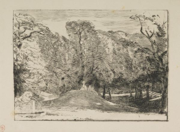 View in Richmond Park (?), a Fountain on the Left