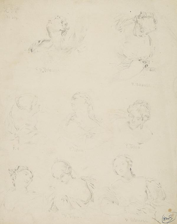 Heads of Women (Dated 1854)