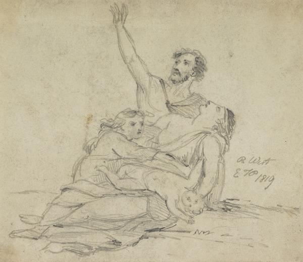 A Family Group in Distress (?) (Dated 1819)