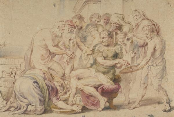 Ulysses, Telemachus, and Two Herdsmen Washing Themselves (About 1635)