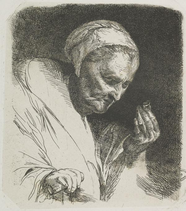 An Old Woman Looking at a Ring