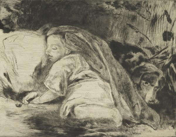 A Sleeping Child and Dog