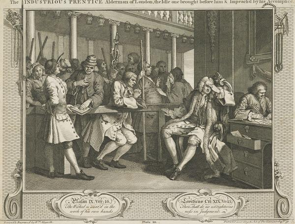 Industry and Idleness, Plate 10: The Industrious 'Prentice Alderman of London, The Idle One Brought Before Him and Impeached by his Accomplice (1747)