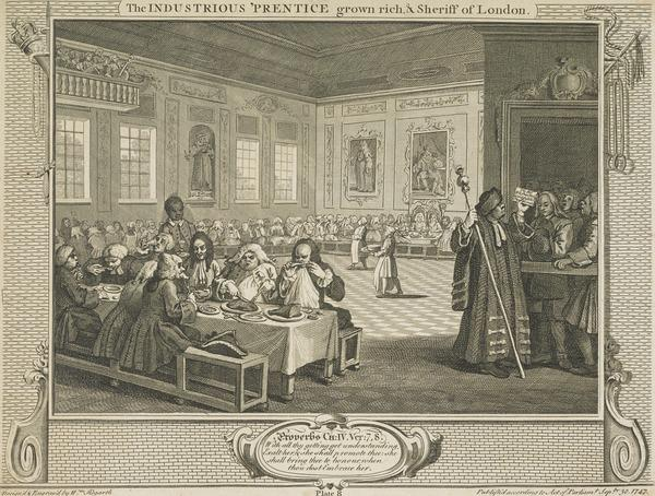 Industry and Idleness, Plate 8: The Industrious 'Prentice Grown Rich and Sheriff of London (1747)