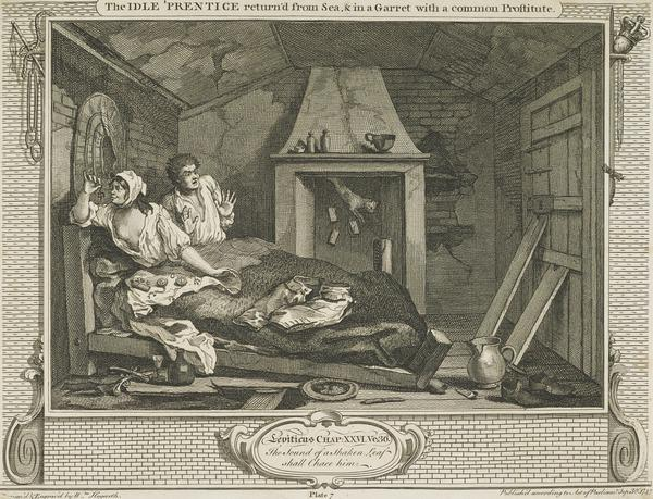 Industry and Idleness, Plate 7: The Idle 'Prentice Return'd from Sea and in a Garret with a Common Prostitute (1747)