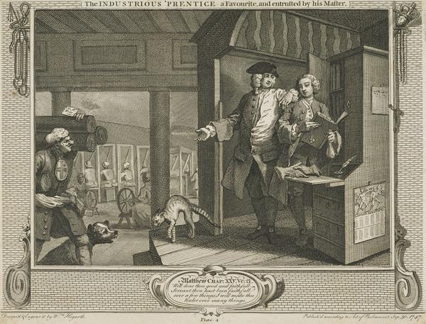 Industry and Idleness, Plate 4: The Industrious 'Prentice, A Favourite and Entrusted by his Master (1747)