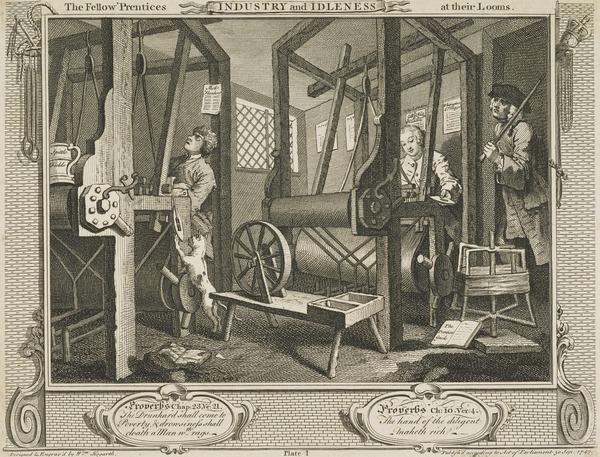Industry and Idleness, Plate 1: The Fellow 'Prentices at their Looms