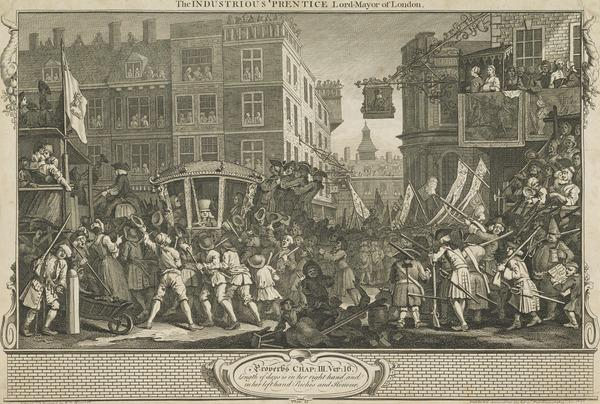 Industry and Idleness, Plate 12: The Industrious 'Prentice Lord Mayor of London (1747)