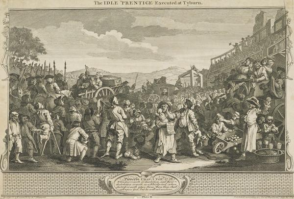 Industry and Idleness, Plate 11: The Idle 'Prentice Executed at Tyburn (1747)
