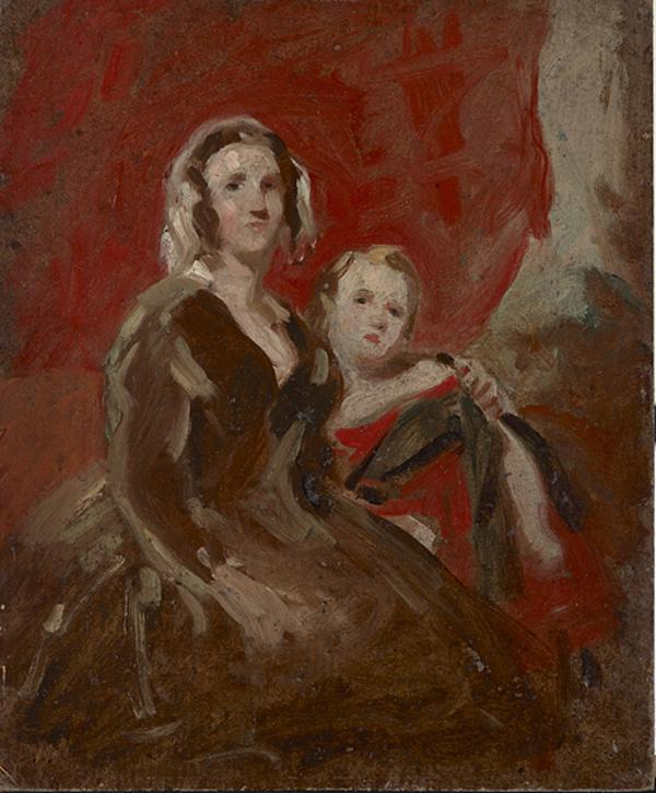 A Portrait Study of a Lady and Child in an Interior