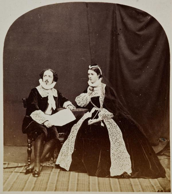 Mary, Queen of Scots attended by Rizzio - tableau featuring Miss G. Moncrieffe and the Hon. Lewis Wingfield (27 August 1863)