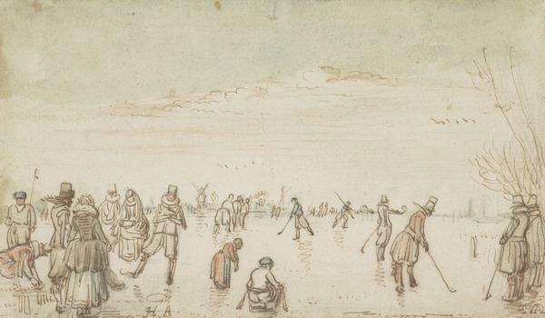 River Scene with Skaters