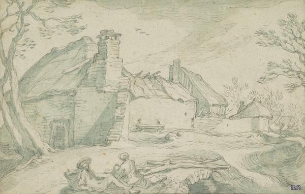 Ruined Farm Buildings with Two Resting Figures