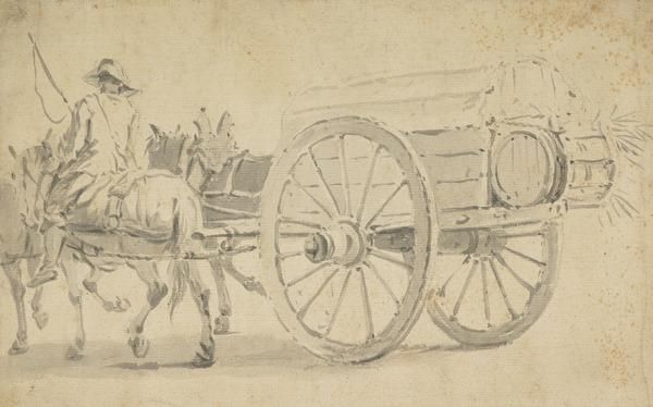 A Soldier on a Horse Pulling a Cart