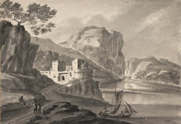 A Castle by a Lake with a High Bluff Beyond - A Sailing Boat and Figures in the Foreground (About 1780)