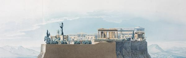 Perspective of the Principal View of the Royal Palace on the Acropolis: Section Through Line A.B. on the Ground Plan Looking West. From Palaces,... (Published 1840)