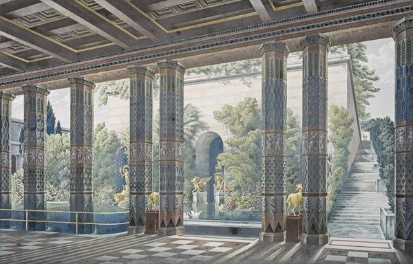 Perspective View of the Grand Pool to the North of the Imperial Garden Court, Looking Towards the Podium Housing the Crimean Museum. From Palaces... (Published 1846)
