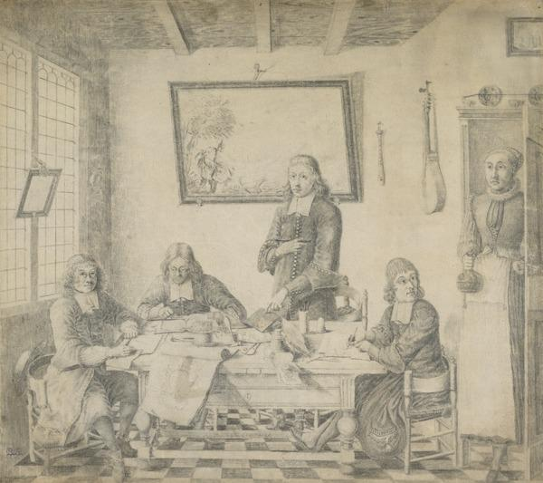 A Group of four Etchers and Draughtsmen around a Table (Dated 1674)