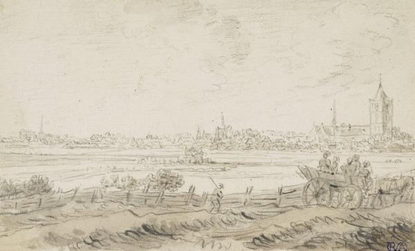 View of a Town in the Distance, People in a Horse-Drawn Cart in the Foreground