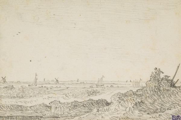 Dune-Landscape with Three Figures and a Dog; Boats and Windmills in the Distance