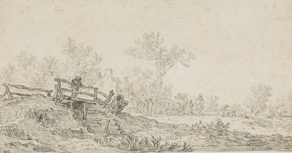 Rustic Bridge with a Man Leaning Over, in the Background an Inn