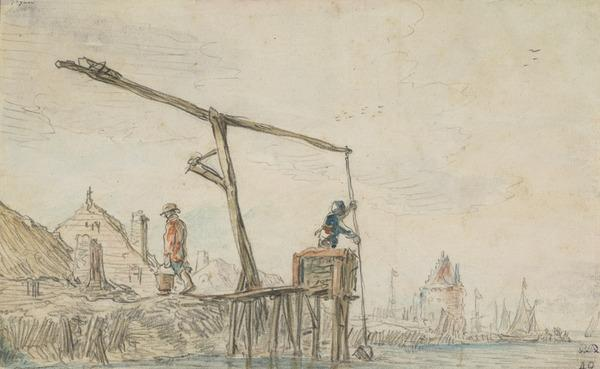 Men Drawing Water from a River