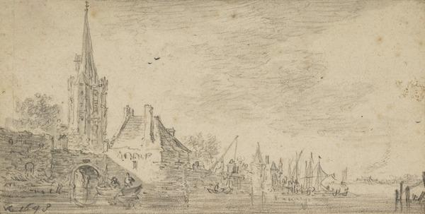 Church and Houses by a River (1648)