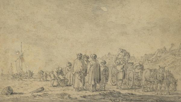 Figures and Cart on a Beach