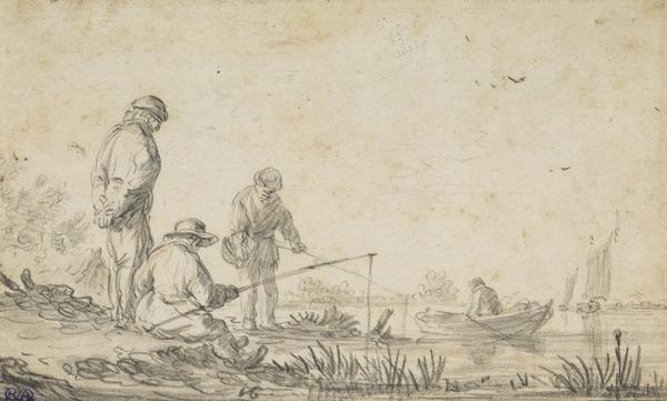Men Angling at a River Bank