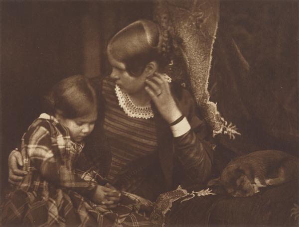 Harriet Farnie and Miss Farnie with a Sleeping Puppy, Brownie (1920 (original negative around 1845))