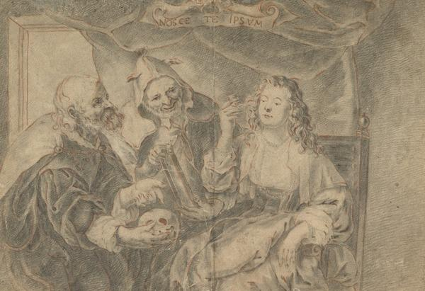 Allegory of Vanity: A Woman Combing her Hair Being Shown a Mirror and Skull by Two Old Men (Estimated earliest year: 1608)