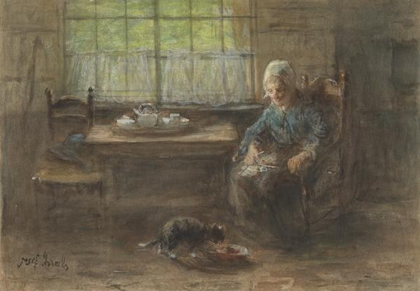 An Old Woman Watching a Cat Feeding from a Saucer