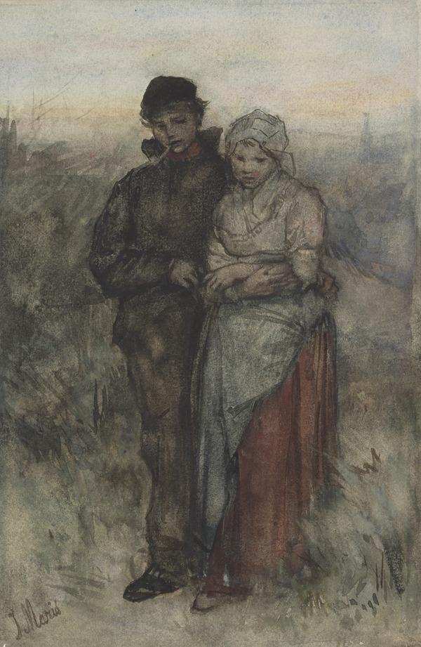 A Dutch Boy and Girl Walking in a Field