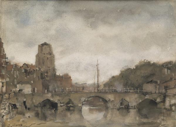 A Bridge Over a River, with a Towered Building on the Left