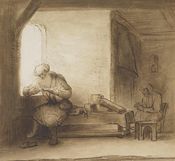 A Man Reading by a Window and a Woman Sitting by a Fire: possibly Joseph and Mary