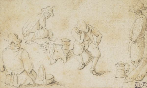 Four Male Figures, Three Sitting and One Standing (1672)