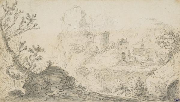 Landscape with a Ruined Tower, City Gate and Church in the Background