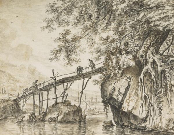 River Landscape with Anglers on a Wooden Bridge (Estimated earliest year: 1624)