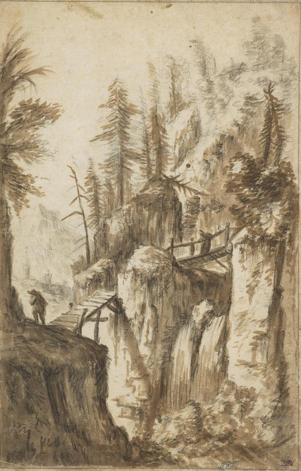 Wooden Bridge across a Waterfall in Rough Ground Lined by Fir Trees, with Figures