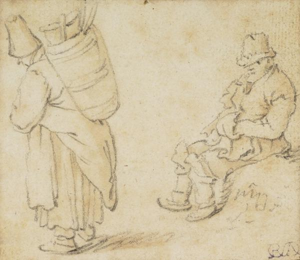 A Standing Female and a Seated Male Figure (1672)