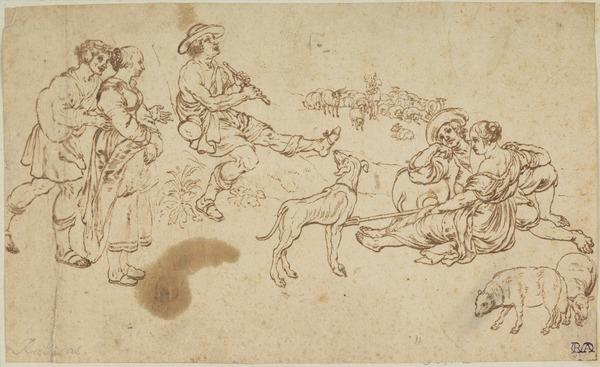 Group of Figures Listening to a Piper