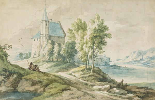 River Landscape with a Church and a Resting Traveller (Estimated earliest year: 1699)