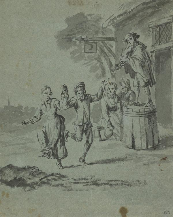 A Dancing Couple and a Fiddler Outside an Inn
