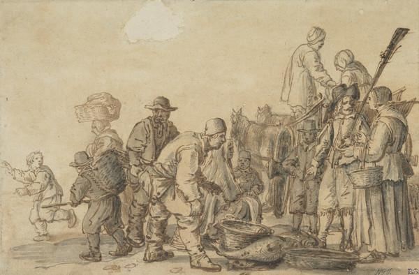 A Group of Fishermen and a Soldier