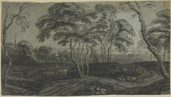 Landscape with Large Trees at the Edge of a Small Town